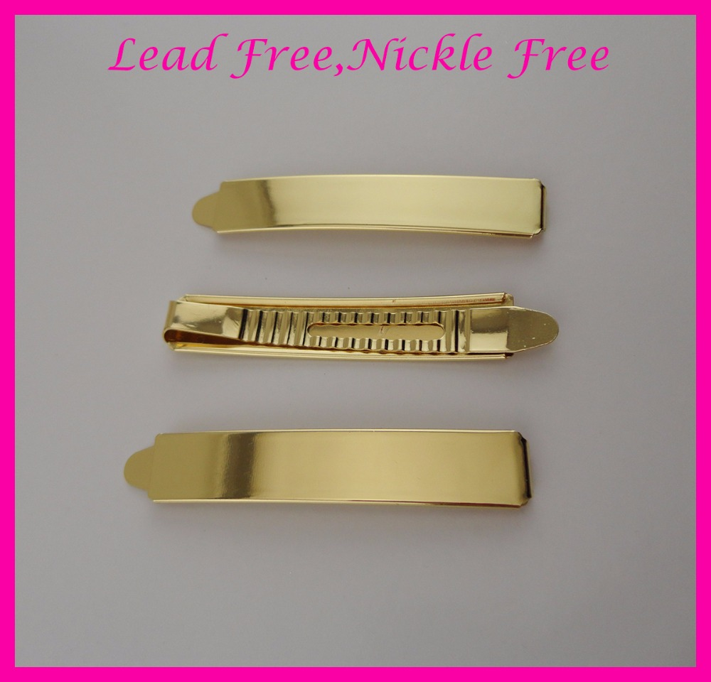 10PCS  1.3CM*7.2cm 2.85 Golden Plain Metal Slide Bobby pins at lead free and nickle free,metal hair barrettes clips