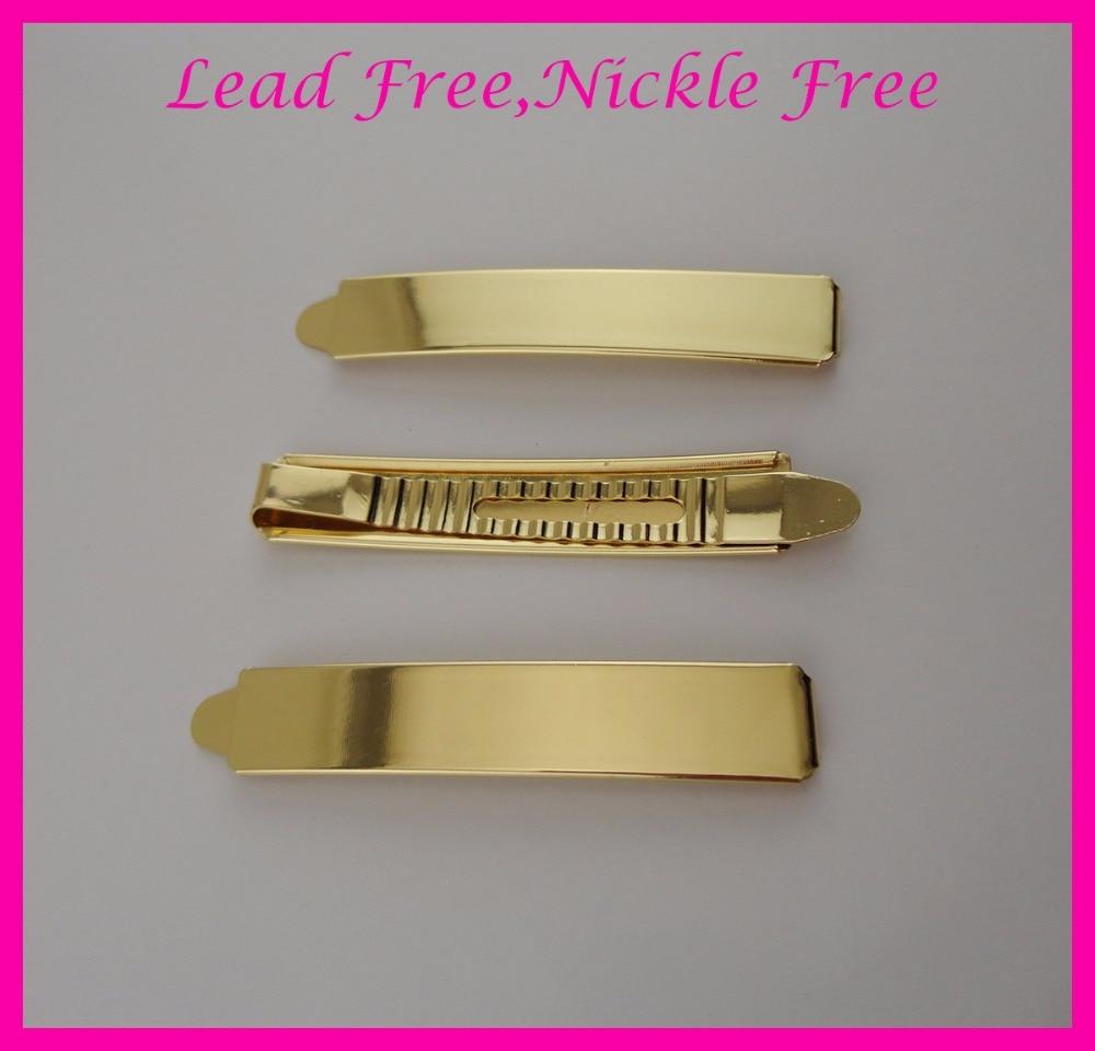10PCS 1.3CM * 7.2cm Golden Metal Slide Bobby csapok ólommentes Nickle-mentes, sima fém hajcsavarok, menyasszonyi hajcsipesz esküvőre