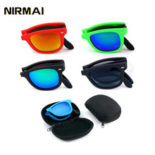 NIRMAI glasses folding Man Women Brand Design Folded Eyewear With original BOX Foldable Glasses unisex Sun Mirrored