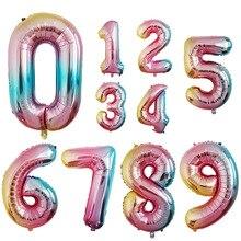 32 дюйма градиентный цвет номер фольги Воздушные шары Радуга фигура День Рождения декорации на свадьбу, вечеринку воздушный шар для Бэйби Шауэр поставки