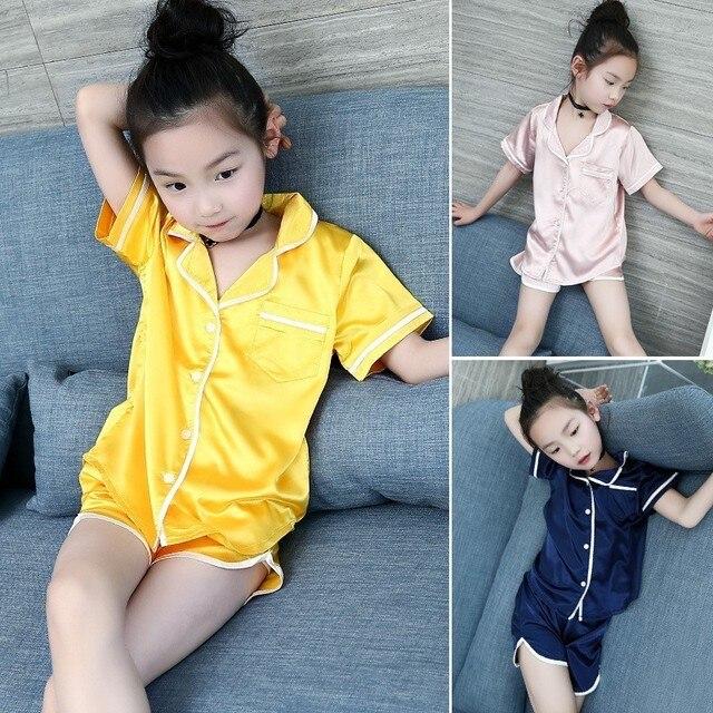 6db451358 big girls pajamas size 10 14 15 16 8 4 6 9 summer 2018 sleepwear kids girls  pyjamas baby yellow blue princess clothing