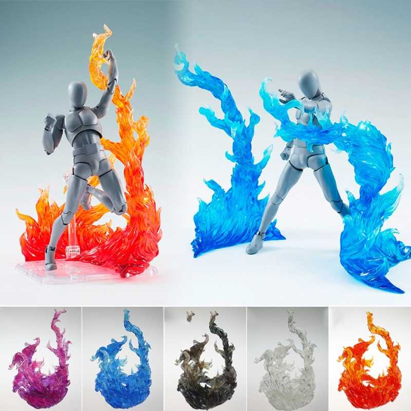 Burning flame Effects Burning Flame Action Figure yellow/purple/red/blue modeling scene Mount For Figma Kamen Rider Saint Seiya
