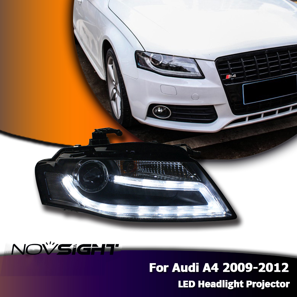 NOVSIGHT New 2pcs/set Auto Car LED Projector Headlights DRL Fog Light Lamp Turn Signal Kit For Audi A4 2009 2010 2011 2012 2pcs car led headlight kit led bulb d33 h11 free canbus auto led lamps white headlamp with yellow light fog light for citroen c4