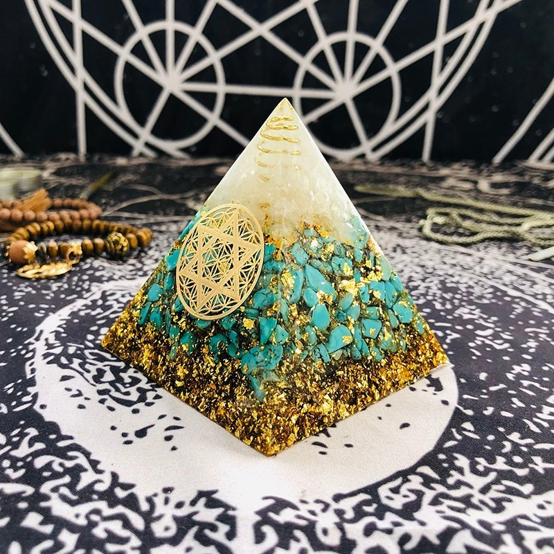 Orgonite Pyramid Anahata Chakra Sandalphon Life Potential Natural Turquoise Resin Pyramid Crafts Decoration C0173