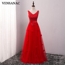 VENSANAC Lace Flowers V Neck Sash Long A Line Evening Dresses 2018 Elegant Sequined Party Appliques Tulle Prom Gowns