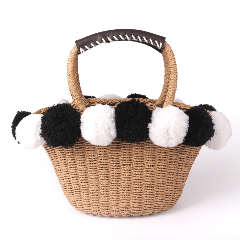 2019 black White Ball Decoration Straw Bag Women Summer Beach Bag Dishes Basket Travel Picnic Handbag female