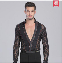 New style men's Latin dance costumes seior stones lace long sleeves men's latin dance body shirt for men's latin dance shirts