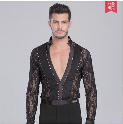 New Style Men's Latin Dance Costumes Seior Stones Lace Long Sleeves Men's Latin Dance Body Shirt For Men's Latin Dance Shirts