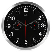 32cm Silent Wall Metal   Clock   Thermometer Hygrometer Quiet Sweep Movement No-ticking Home Art Decor Z30