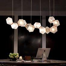 Pós moderno criativo poligonal lustre de vidro cobre luminárias bola para casa decorativo grande lustre moderno modo iluminação