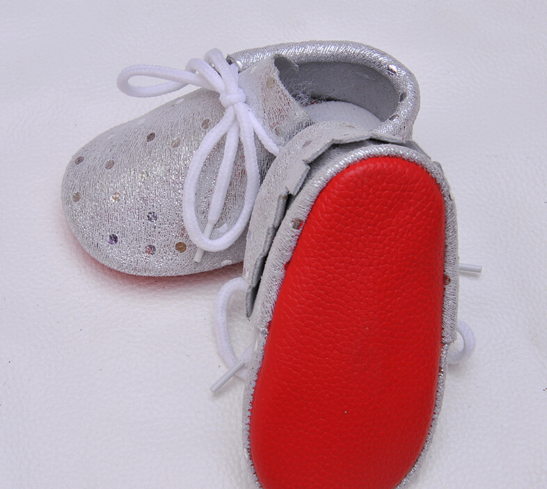 New stylish Children Newborn Baby Moccasins Red Sole Genuine Leather Polka Dot First Walkers Infant Toddler Lace Up Baby Shoes