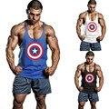 Capitão América Homens Regatas Homens Musculação Roupas Tanque Solto Encabeça Singlets Musculares camiseta Sem Mangas dos homens Colete de Algodão