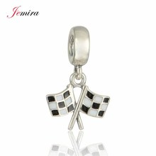 New Racing Chequered Flag Pendant Real 925 Sterling Silver Diy Jewelry Suitable for Style Charm Bracelets
