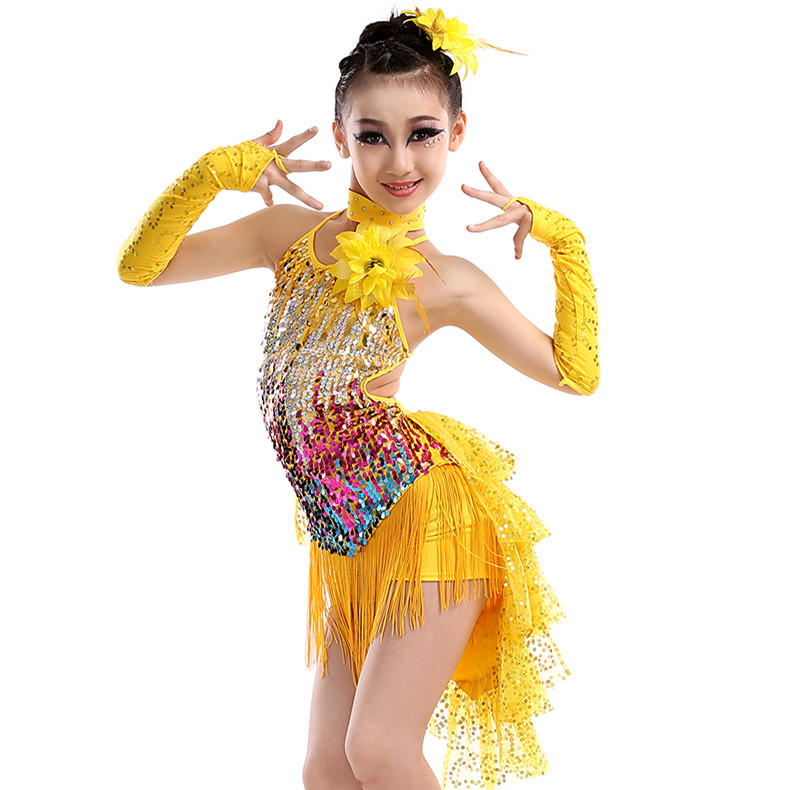 blue yellow red tassel latin font b dance b font costumes for kids sequined font b