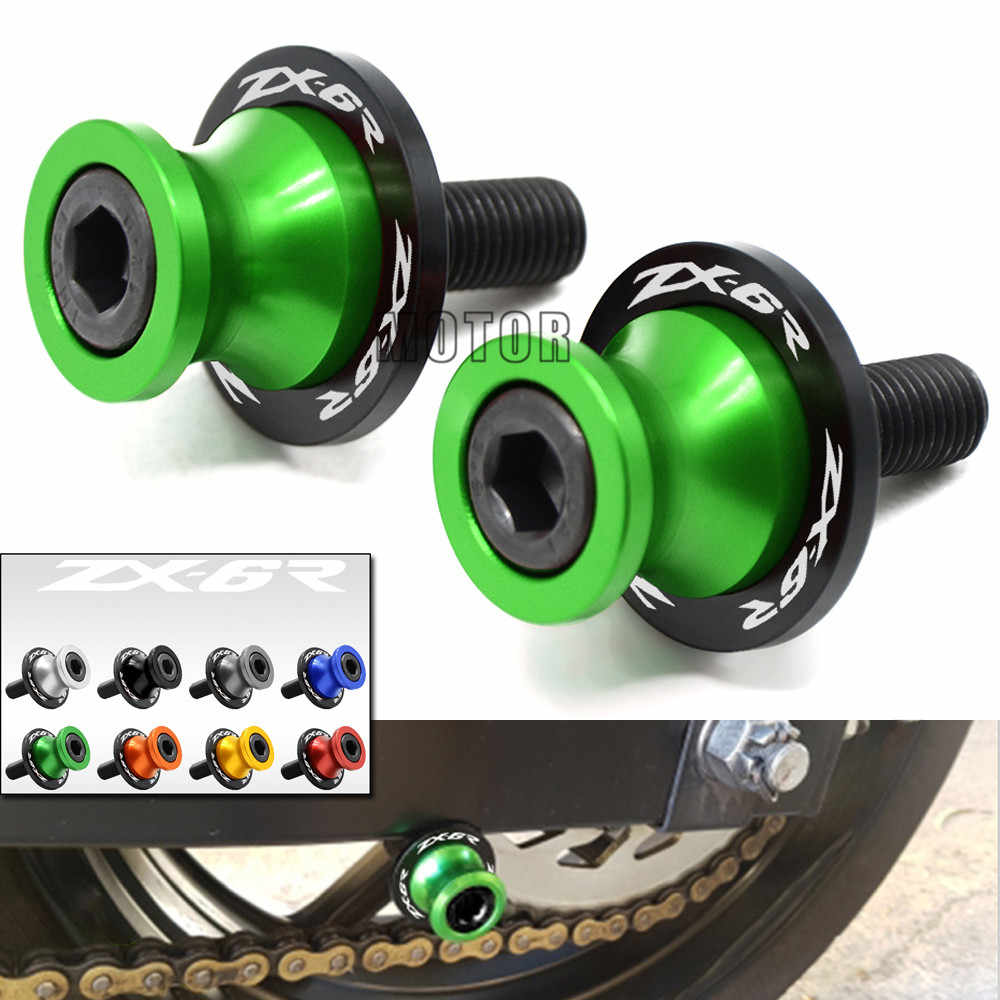 10mm Swingarm Stand Screws CNC Motorcycle Swing Arm Spools Sliders For Kawasaki Ninja ZX-6R ZX600 1998-2011 ZX6R ZX 6R 6 R  600