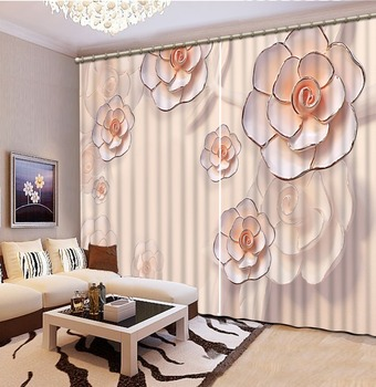 Home Decor Living Room Natural Art 3D relief flower Curtains for living room Home Decoration