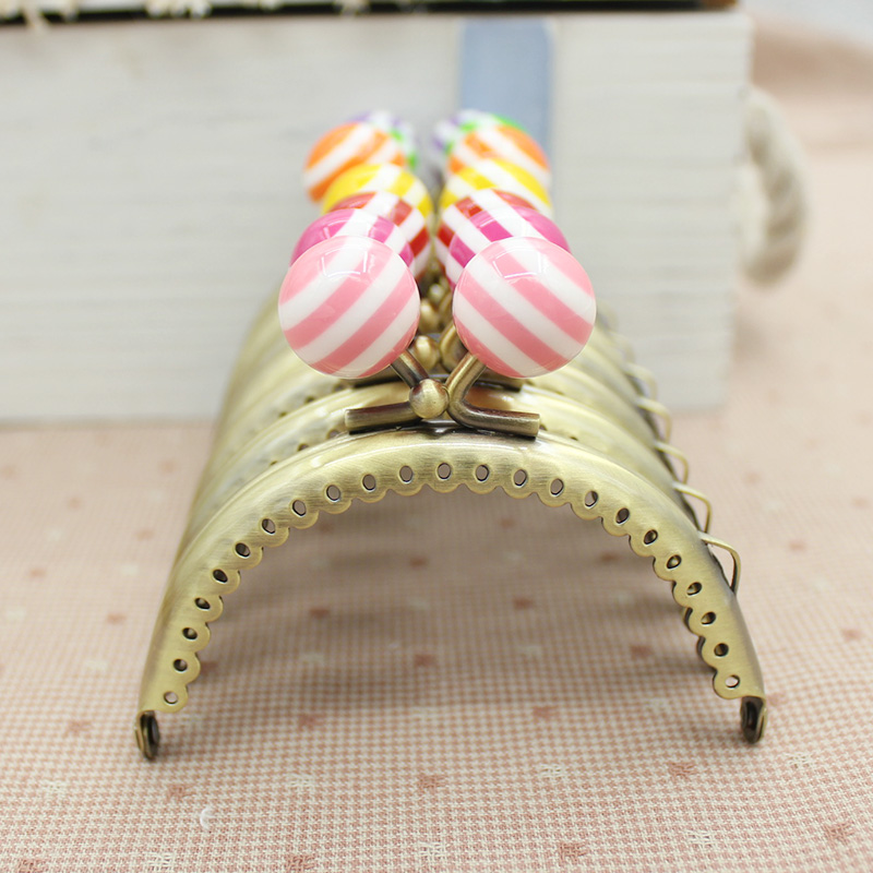 10 pcs lott 85cm stripe lollipop bead metal purse frame semicircle bright and clean antique bronze lace coin purse frames