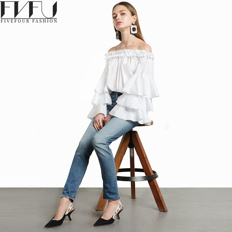 Fashion 2017 Blouse Shirt Women Spring Summer Cute White Shirt Women Off Shoulder Tops Casual Ruffle Blouses Women Plus Size