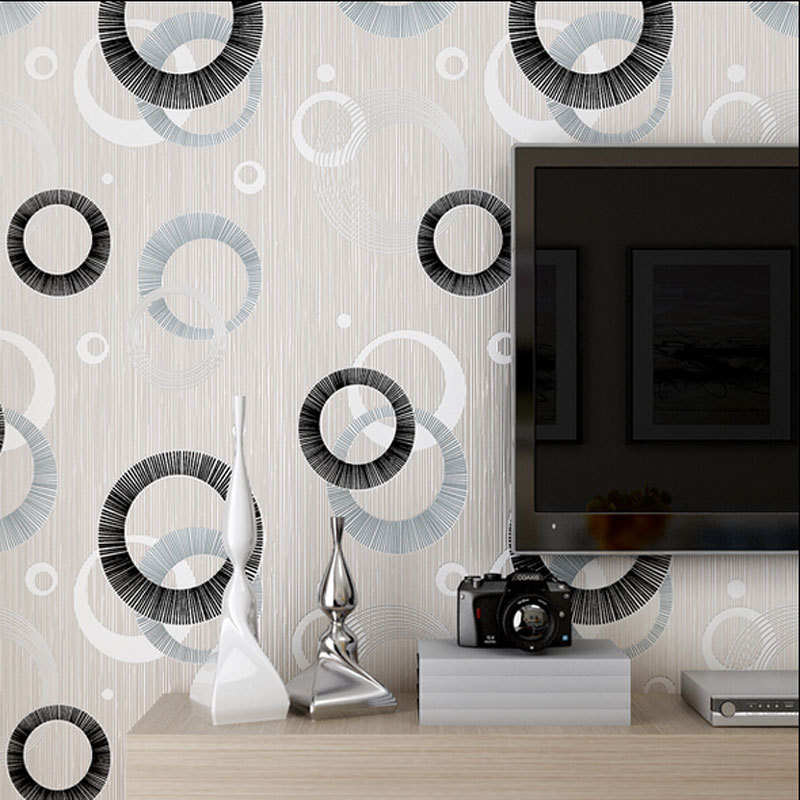 Modern Luxury Circle Design Wallpaper 3D Stereoscopic Mural Wallpapers Non Woven Home Decor Flocking Wall Paper QZ075 In From