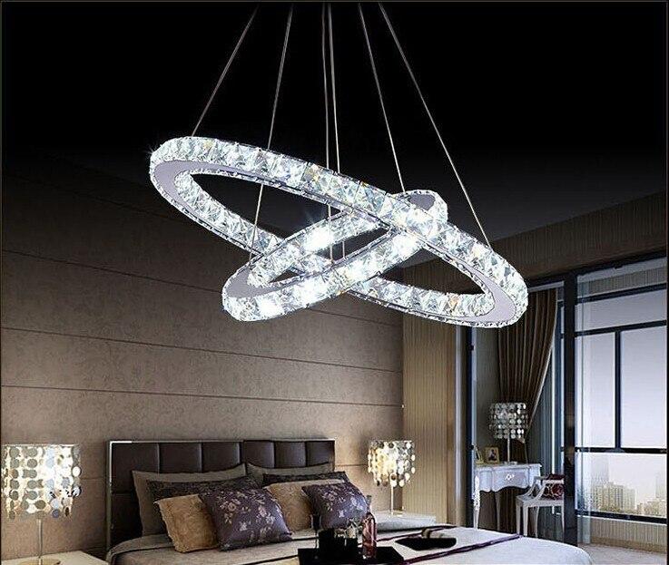 fashion selling 2 ring combination led crystal chandelier Modern bedroom K9 crystal lamp led lustre light