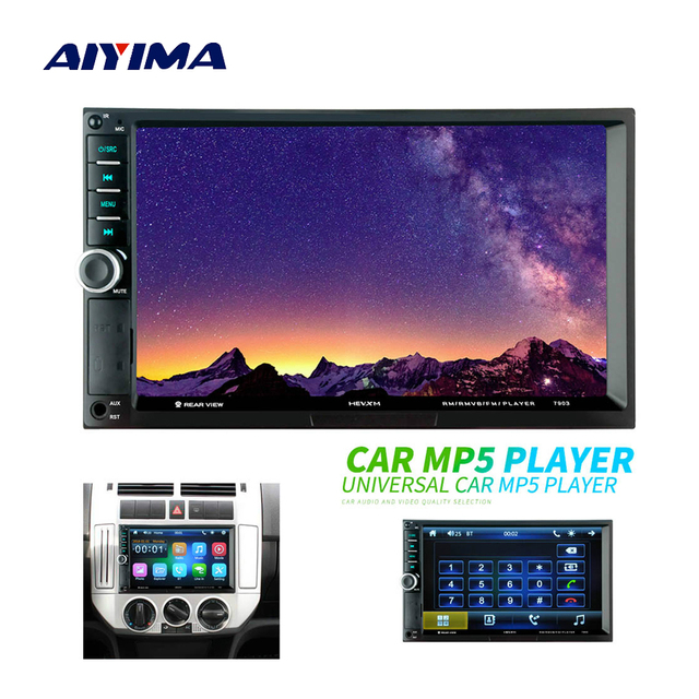 """AIYIMA 7"""" Touch Screen 2 Din HD Digital Display Bluetooth Multimedia Video MP5 Player TF AUX Radio MP3 MP4 Music Player For Auto"""