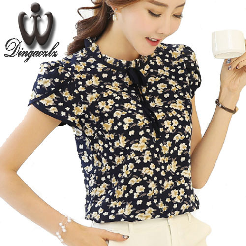 12b11218f351 Dingaozlz Chiffon shirt Summer Women s Sweet Printed Lace Tops Short sleeve  shirt Blusa Plus size clothing