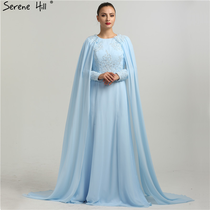 Long Sleeves Fashion Beach Evening Dresses Appliques Pearls With Cap Chiffon Evening Gowns 2019 New Serene Hill HA2134