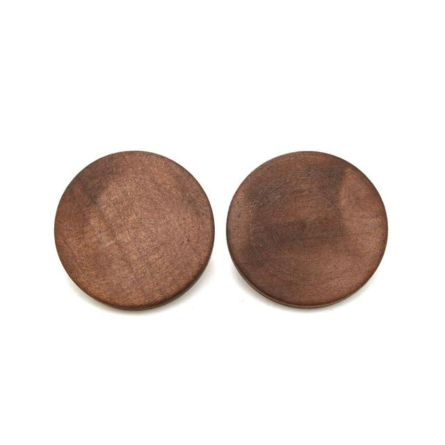 Rounded Brown Wood Stud Earrings