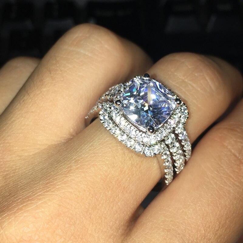 AINUOSHI Luxury Bridal Wedding Ring Set 925 Solid Sterling Silver 3 Carat Cushion Cut NSCD 3PC Women Engagement Halo Ring Set