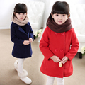 2016 New Autumn Winter Children's Clothing Child Fashion Brief Double Breasted Wool Coat Child Woolen Outerwear Girls Top
