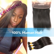 Brazilian Straight Virgin Hair With 360 Lace Closure Hair Weft With 360 Closure Cheap Human Hair Bundles With Closure 360
