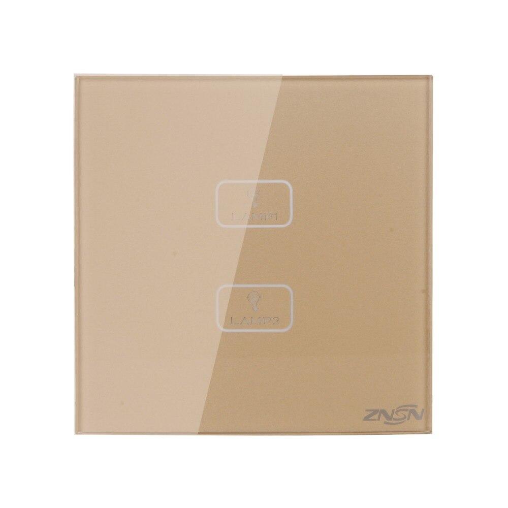 N and L Line Gold 2 Gang 2 Way 86x86x37mm Luxury Crystal Glass Panel Wall Touch Switch gold line круглый строка полиэфирные шнуры коричневые 2 мм около 100 м рулон