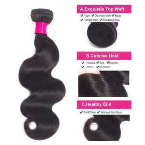 Image 4 - 3pcs BY Peruvian Hair Bundles with Closure Body Wave Bundles with Closure With Baby Hair Remy Human Hair Extension Weaving Soft
