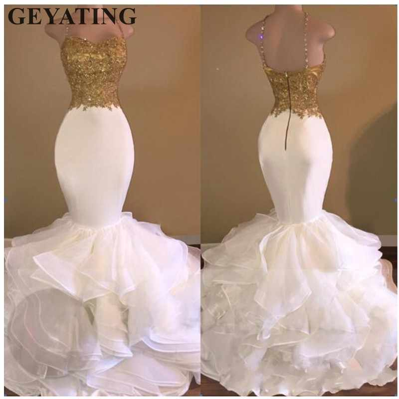 ... Sexy White Mermaid African Prom Dresses 2019 Spaghetti Straps Gold Lace  Appliques Ruffles Tiered Black Girls ... dc93543ca4a8