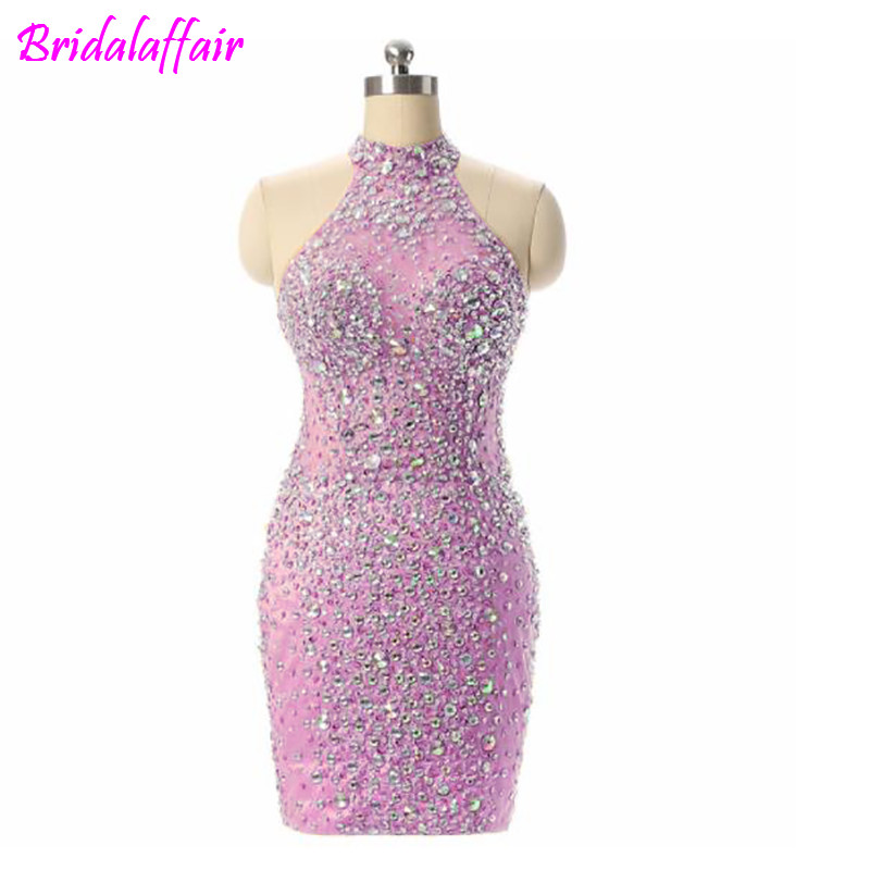 Sparkly Beads Crystal Women Dresses Cocktail Party Wear Gowns Knee Length Champagne Evening Dress short cocktail