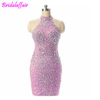 Sparkly Beads Crystal Women Dresses Cocktail Party Wear Gowns Knee Length Champagne Evening Dress short cocktail dresses prom