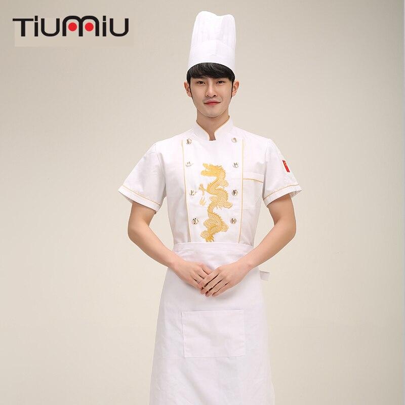 2018 Summer High Quality Chef Uniform Food Service Short Sleeve Senior Restaurant Restaurant Workwear Workwear Uniform Tool Cook