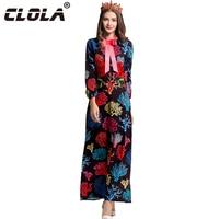 CLOLA New Autumn Women Maxi Dress 2017 O-neck Lantern Sleeve Black Print Long Dresses Embroidery Casual Lady Party Vestidos