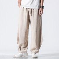 Spring Cotton Linen Harem Pants Men Loose Breathable Joggers Trousers Male Cross pants Crotch Slacks Khaki Baggy Wide Leg Pants