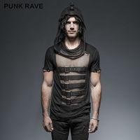 2017 New Punk Rave men's Rock black Fashion street mesh sexy Tee Shirt top T425