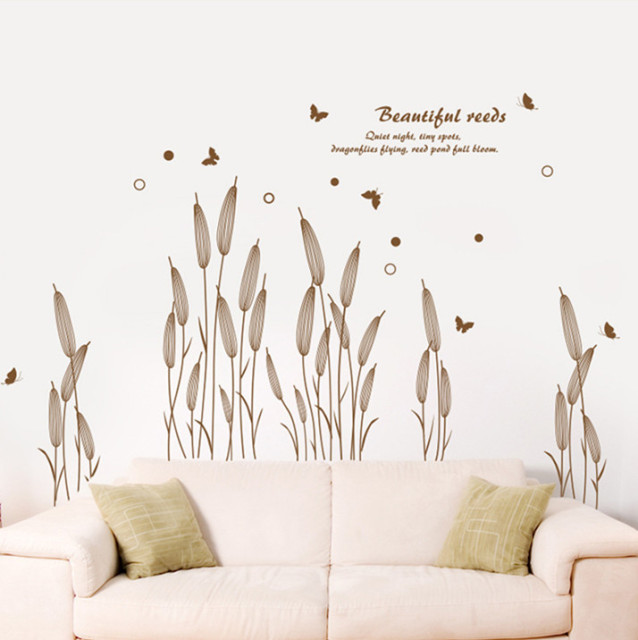 aliexpress : buy autumn brown setaria grass reeds wall stickers