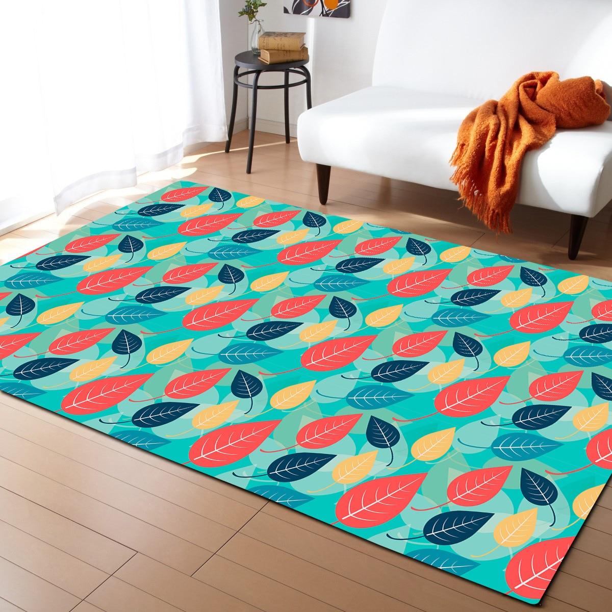 3D feuille motif grande taille tapis pour salon doux moderne chambre tapis anti-dérapant Table à thé rectangulaire tapis de sol-A