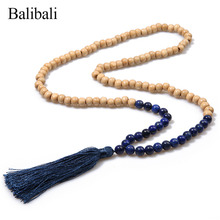 Balibali Fashion Accessories Necklace Jewelry Maxi Natural Stone Wood Beads Necklaces & Pendants for Women Men Tassel Halsband