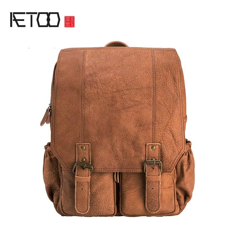 c35bd16fbd50 BJYL оригинальная новая английская Ретро сумка мужская кожаная сумка мужская  Скраб кожаный рюкзак для отдыха и