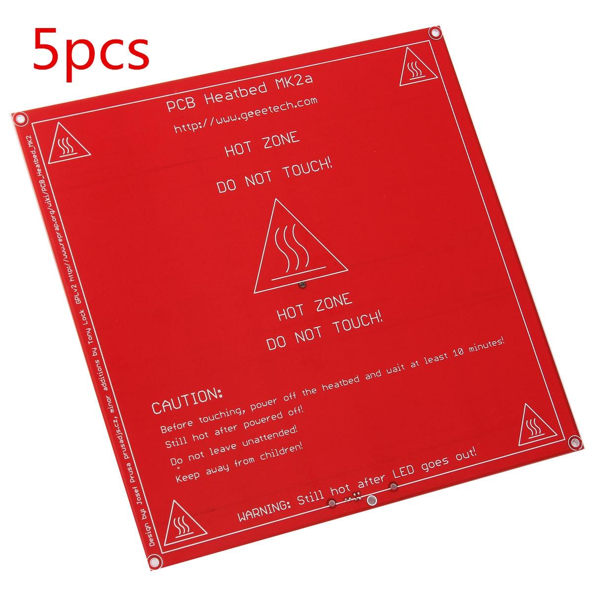 5 pcs 12 v 24 v Rouge PCB de Chaleur Chauffé lit heatbed MK2B Amélioré MK2A pour Mendel pour RepRap 3D imprimante Soutien 214mm x 214mm