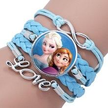 Лидер продаж, кожаный браслет для девочек с изображением Эльзы, Анны, принцесс, портретов, кабошонов, бесконечных кристаллов, женских украшений, рождественский подарок