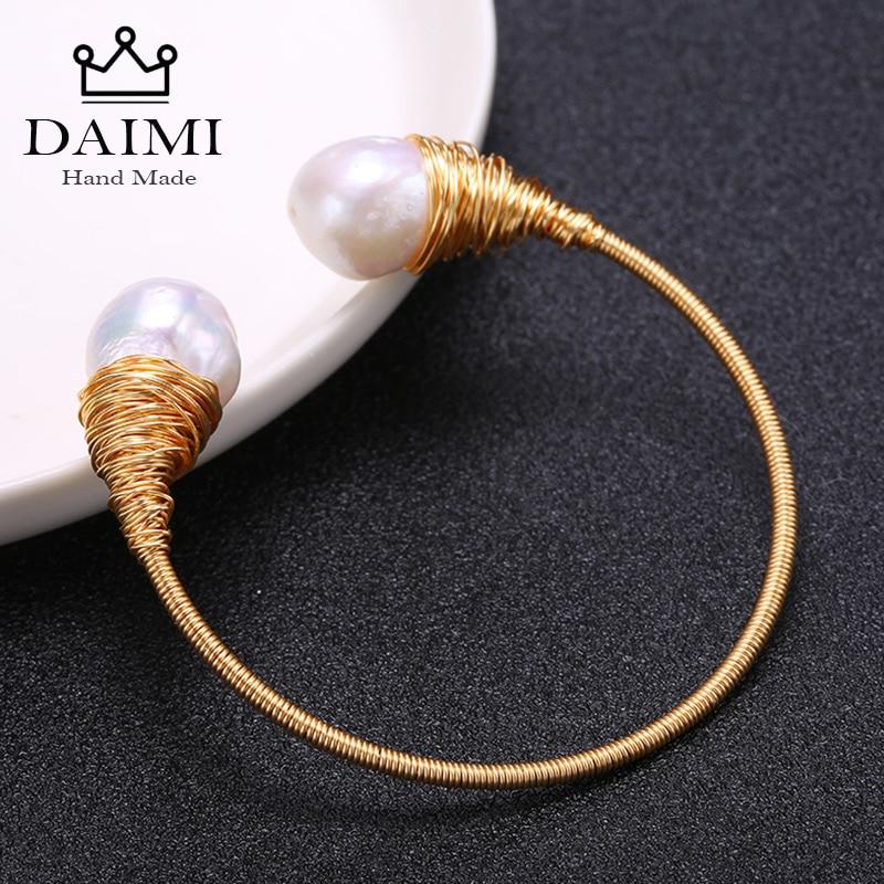DAIMI Handmade Women Bangle 13-14mm Baroque Freshwater White Pearl Roll Gold Fashion Design Fine Jewelry Gold Tube Bangles