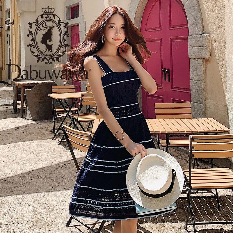 Dabuwawa 2019 nouvelle robe d'été à bretelles à rayures pour femmes DN1BDR156