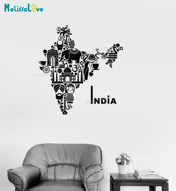 unique shape vinyl decal india map hindu hinduism elephant symbols