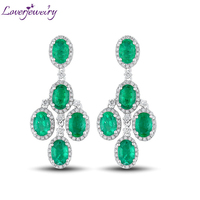 Dangle Drop Earrings 2019 Solid 14K White Gold Columbia Emerald Engagement Earrings Fashion Jewelry For Women Party Wedding Gift